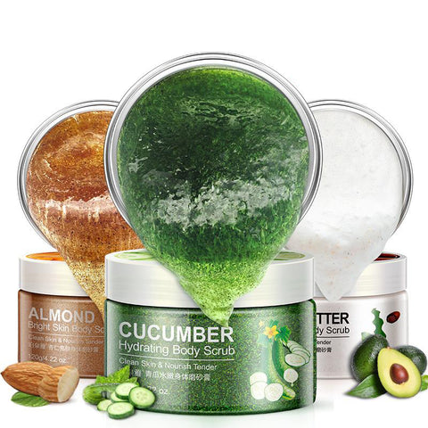 Bioacua cucumber and karite almond body scrubs