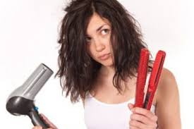battered hair by using irons and dryers