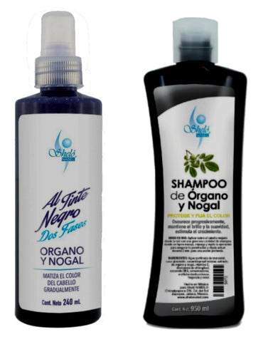 black dye and organ and walnut shampoo
