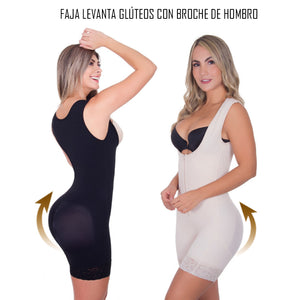 Colombian butt lifter shapewear with shoulder clasp