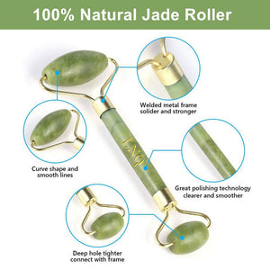 jade roller for the use of creams, serums and facial lotions