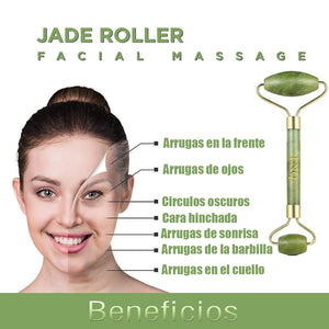 jade roller to remove wrinkles on forehead