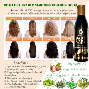 Natural keratin treatment for damaged hair and split ends