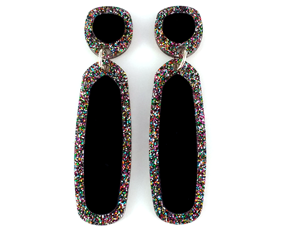 Concentric Glitter Edge Earrings