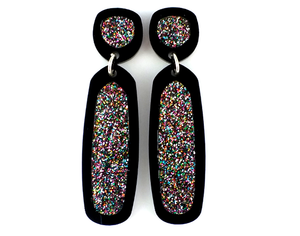 Concentric Glitter Outline Earrings