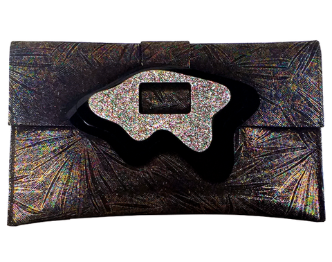 Concentric Iridescent Clutch Bag