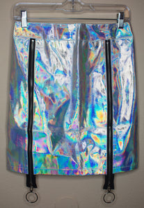 Holographic Silver Pencil Skirt