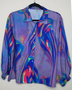 Neon Tie-Dye Oversized Button Up Blouse