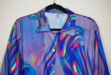 Load image into Gallery viewer, Neon Tie-Dye Oversized Button Up Blouse