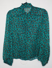 Load image into Gallery viewer, Green Leopard Ruffle Blouse