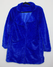 Load image into Gallery viewer, Plush Blue Faux Fur Coat