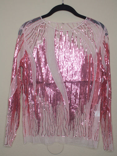 Pink Sheer Sequin Blouse