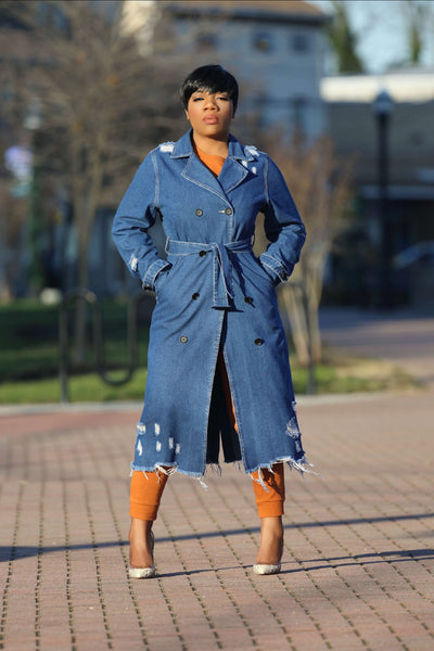 Double Breasted Denim Trench Coat