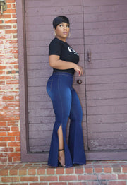 High Waist Bell Bottom Slit Denim