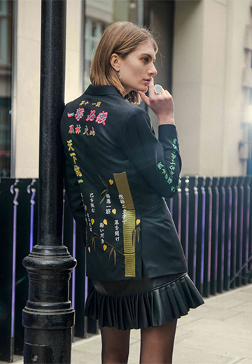 TOKKOU Unisex Tailored Jacket with Japanese embroideries in Black