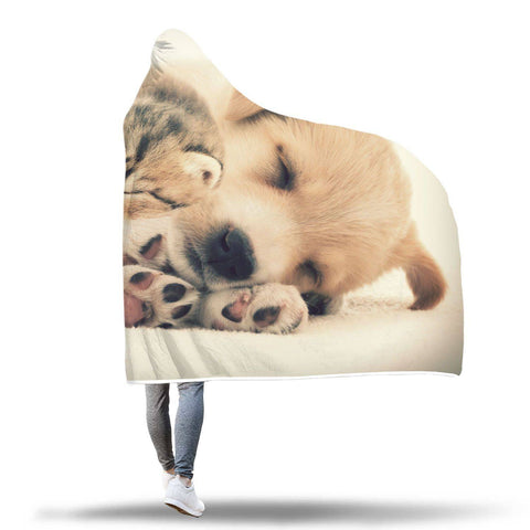 Why Can't We Be Friends - Cat And Dog Hooded Blanket  - Hooded Blankets Sherpa Lined Adult Youth Sizes