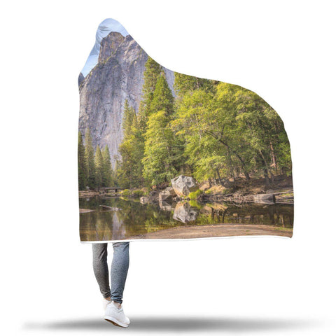 Yosemite Half Dome - Natural Landscapes Hooded Blanket  - Hooded Blankets Sherpa Lined Adult Youth Sizes