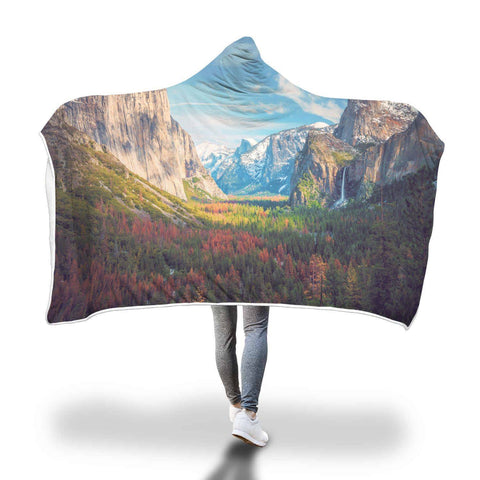 Yosemite Valley Half Dome - Landscapes Hooded Blanket  - Hooded Blankets Sherpa Lined Adult Youth Sizes