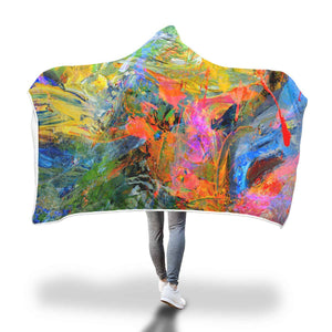 Yellow, Blue And Red Pastels - Hooded Blanket  - Hooded Blankets Sherpa Lined Adult Youth Sizes