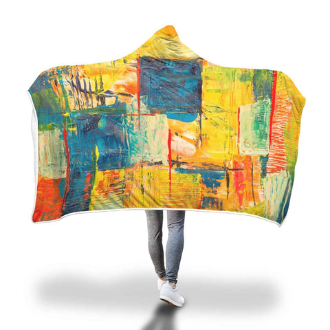 Yellow And Red - Hooded Blanket  - Hooded Blankets Sherpa Lined Adult Youth Sizes
