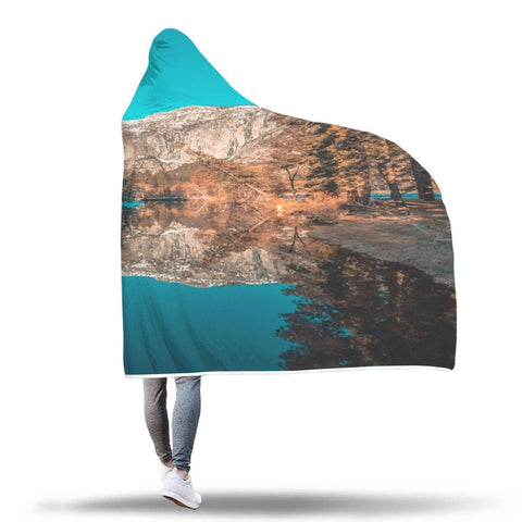 Yosemite Valley Merced River - Landscape Hooded Blanket  - Hooded Blankets Sherpa Lined Adult Youth Sizes