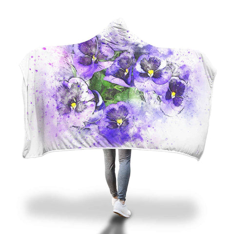 Purple Violets - Flowers Hooded Blanket  - Hooded Blankets Sherpa Lined Adult Youth Sizes