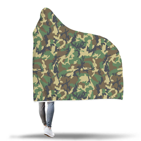 Green Military Camo - Hooded Blanket  - Hooded Blankets Sherpa Lined Adult Youth Sizes