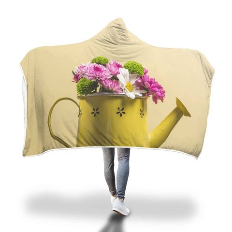 Yellow Watering Can - Flowers Hooded Blankets  - Hooded Blankets Sherpa Lined Adult Youth Sizes