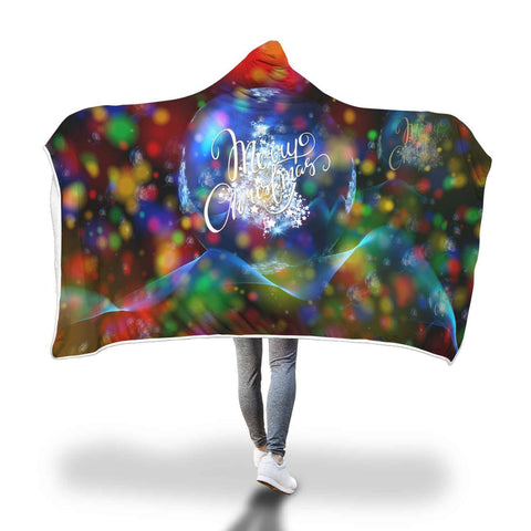 We Wish You A Merry Christmas - Hooded Blanket  - Hooded Blankets Sherpa Lined Adult Youth Sizes