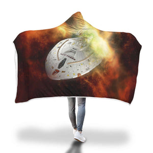Star Trek Voyager - Hooded Blanket  - Hooded Blankets Sherpa Lined Adult Youth Sizes