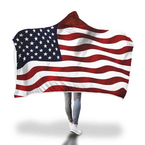 Old Glory - American Flag Hooded Blanket  - Hooded Blankets Sherpa Lined Adult Youth Sizes