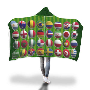 World Cup Footy - Hooded Blanket  - Hooded Blankets Sherpa Lined Adult Youth Sizes