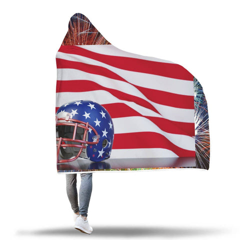 Football - USA Hooded Blanket  - Hooded Blankets Sherpa Lined Adult Youth Sizes