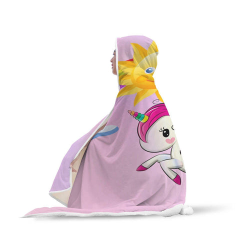 Unicorns Are Real! - Pink Hooded Blanket  - Hooded Blankets Sherpa Lined Adult Youth Sizes