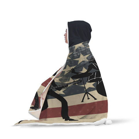 An American Band - USA Hooded Blanket  - Hooded Blankets Sherpa Lined Adult Youth Sizes