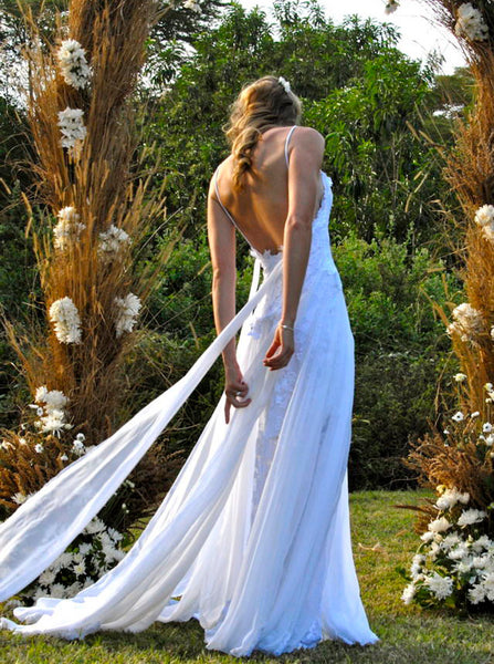 Backless Wedding Dresses,Chiffon Lace Wedding Dress,Casual Wedding Dress,Boho Bridal Dress,WD00127