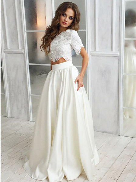Two Piece Bridal Gown,Satin Bridal Gown,Wedding Dress with Sleeves,WD00231