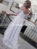 High low Wedding Dress,Destination Wedding Dress,Wedding Dress with Sleeves,WD00140