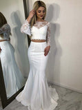 Satin Wedding Dresses,Two Piece Wedding Dress,Romantic Wedding Dress,WD00094