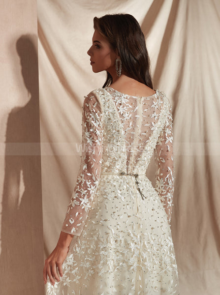 Lace Wedding Dresses with Long Sleeves,Ivory Luxurious Wedding Dress,WD00362