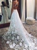 Boho Wedding Dresses,Lace Wedding Dress,Backless Bridal Dress,Beach Wedding Dress,WD00079