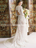 Vintage Wedding Dresses,Lace Wedding Dress,Rustic Wedding Dress,Long Bridal Dress,WD00175