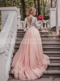 Pink Wedding Dresses,Wedding Dress with Sleeves,Charming Bridal Dress,Modest Bridal Dress,WD00107