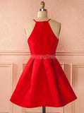 Red Homecoming Dresses,Satin Homecoming Dress,Simple Homecoming Dress,HC00131