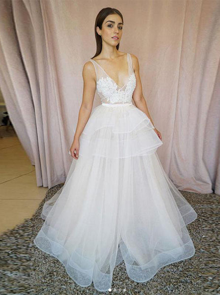 White Wedding Dresses,Tulle Wedding Dress,Ruffled Wedding Dress,Trendy Wedding Dress,WD00181