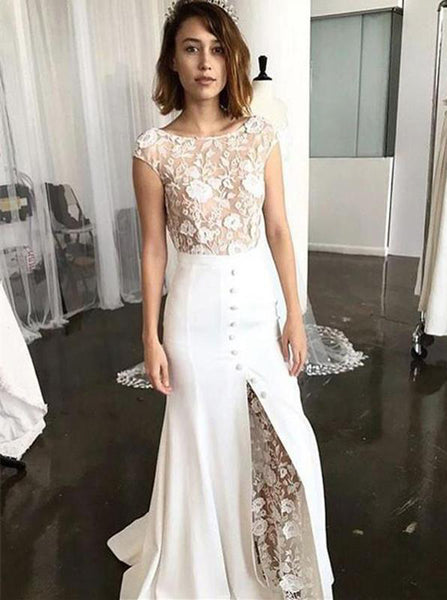 Mermaid Wedding Dress with Cap Sleeves,Modern Wedding Dress,BD00192