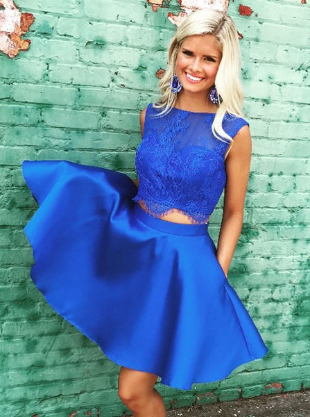 Two Piece Homecoming Dresses,Modest Homecoming Dress,Satin Homecoming Dress,HC00128