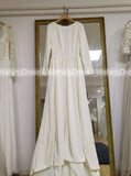 Long Sleeves Wedding Dresses,Satin Wedding Dress,Ivory Bridal Dress,Backless Bridal Dress,WD00055