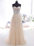 Dazzling Sweetheart Long Prom Dress,Beaded Princess Evening Dress,Formal Girls Party Dress PD00157