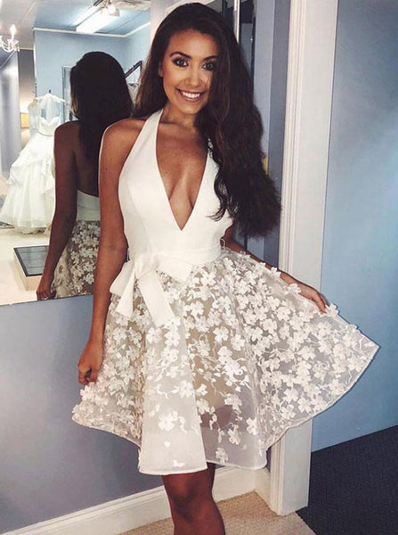 White Homecoming Dresses,Halter Homecoming Dress,Short Prom Dress,HC00043